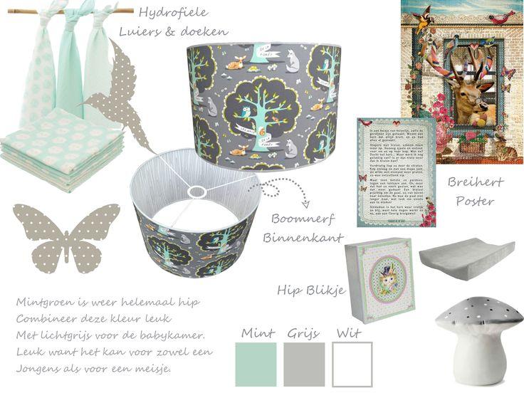 Mint & Grijs voor in de babykamer. Leuk moodboard vol inspiratie. www.hippekamerenzo.nl
