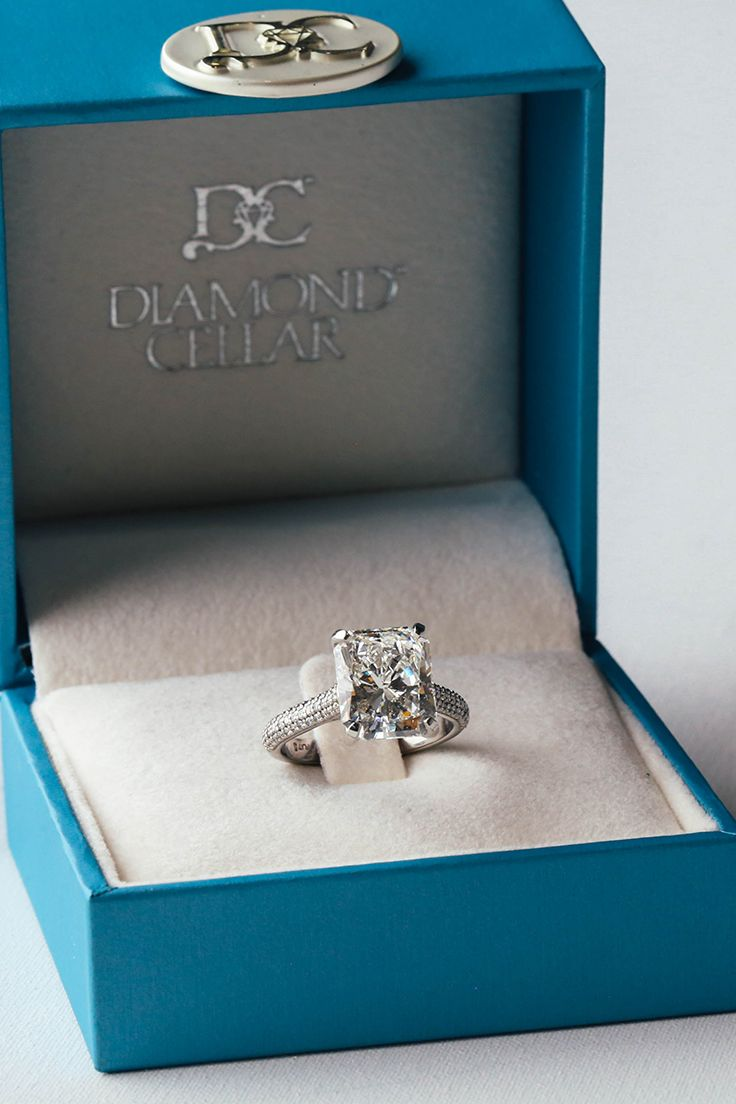 Fall in love with this beautiful radiant diamond ring. Sold exclusively at the Diamond Cellar & 54 best Engagement Rings + Wedding Bands images on Pinterest | 3 ...