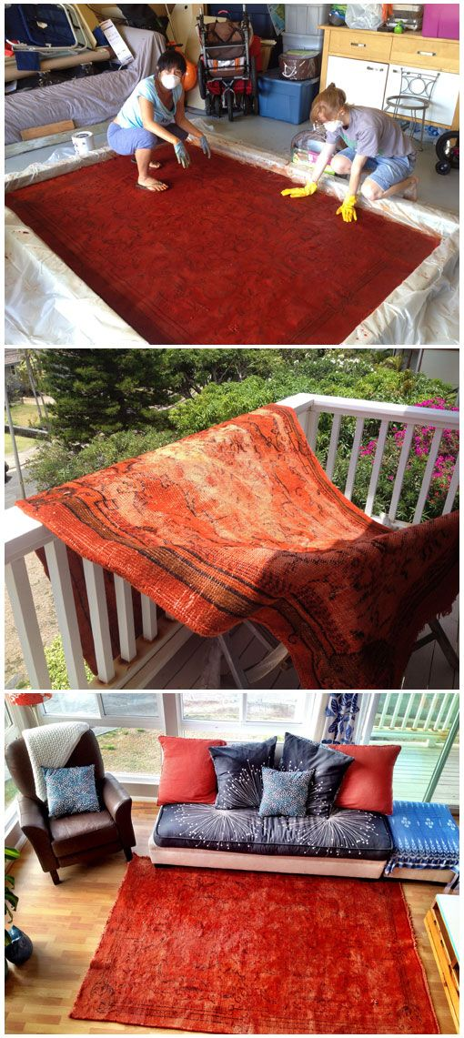 Dyed Wool Rug by Margaret Simms- Dyed with Dharma Acid Dyes- Amazing Job!
