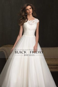 2014 vestido de novia Una línea de Bateau escote de encaje blusa con la falda de Tulle de la manga del casquillo $ 259.99 BFPK2LH6SZ - BlackFridayDresses.com