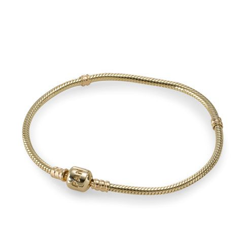 Gold bracelet, Bracelet and clasp in 14K gold. Available in 17, 18, 19, 20, 21, and 23 cm, CA$299.98 27% OFF, Buy Now: http://www.pandoracanada2013.com/gold-pandora-bracelet.html