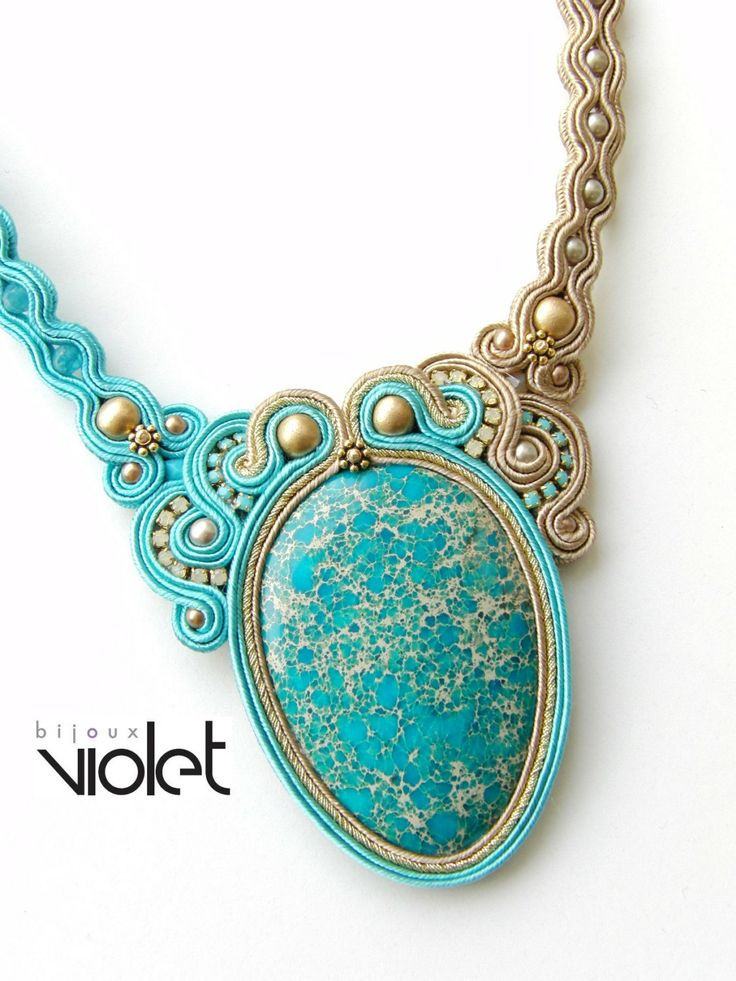 Soutache Necklace Aqua Dream di Violetbijoux su Etsy