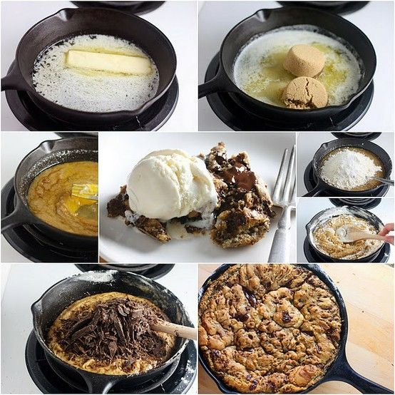 The Chocolate Chip Cookie Skillet Recipe. kyle and i will use this religiously. #addictedtoskilletcookies
