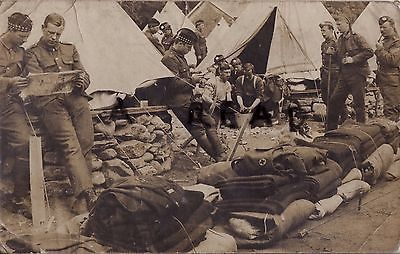 WW1 soldier Group HLI Highland Light Infantry RAMC tented camp Dunoon