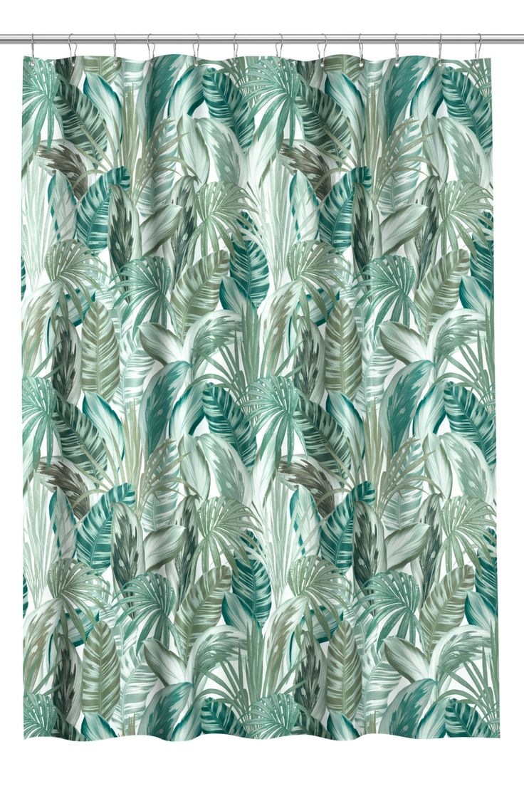 Green/leaf-patterned. Shower curtain in water-repellent polyester with a printed design. Metal grommets at top. Shower curtain rings sold separately.