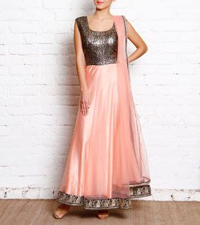 Pink Net & Black Brocade Anarkali by simple kaur for indianroots.com