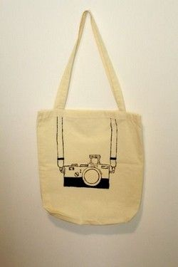 Handmade Cream Handbag with black vintage camera drawing!