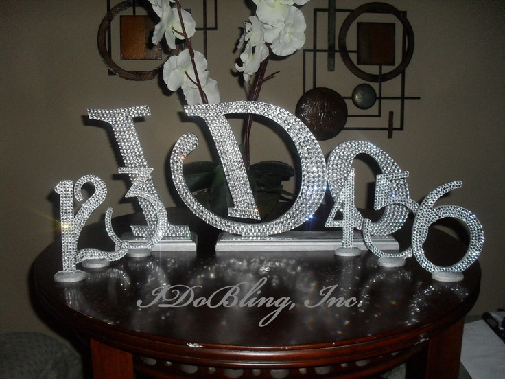 Bling crystal rhinestone wedding reception table numbers for Glitter numbers for centerpieces