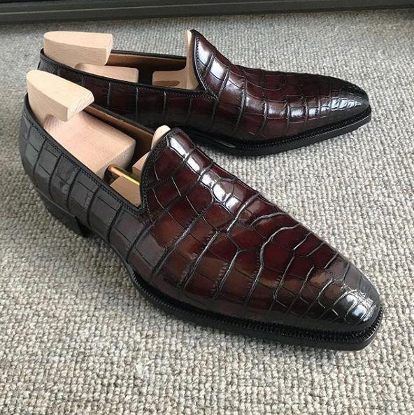 Mocasines sin cordones de piel de cocodrilo Zapatos de negocios clásicos   – Crocodile and Alligator Shoes