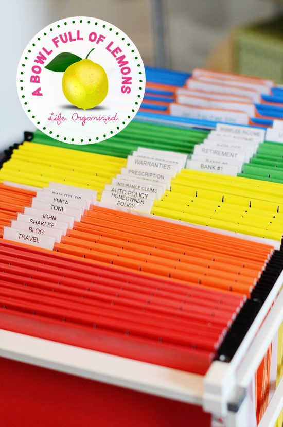 A slightly modified version of what organized expert Julie Morgenstern recommends...she recommends *one* file color and straight-line tabs...this works about the same way (keeping your eyes from having to go back and forth across the files to scan the labels) and yet adds a colorful punch to make it more fun to view.