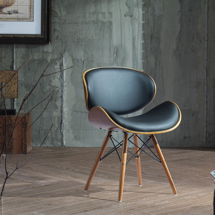 Corvus Madonna Mid-century Black Faux Leather Upholstered Walnut Finished Living Room Chair (BSI005)