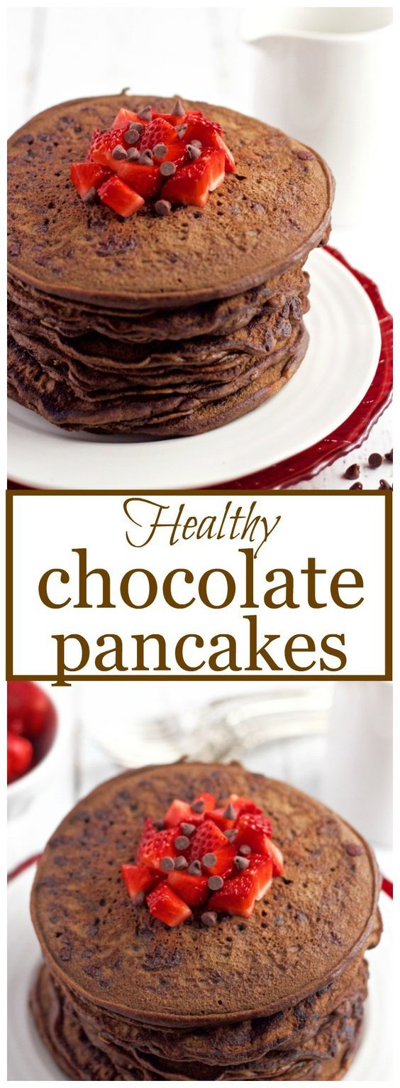 Whole wheat, naturally sweetened chocolate pancakes, with no butter or oil for a healthy, fun breakfast!   FamilyFoodontheTable.com