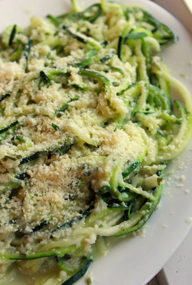 Zucchini Pasta With Cauliflower Alfredo Sauce by joandsue.blogspot.com