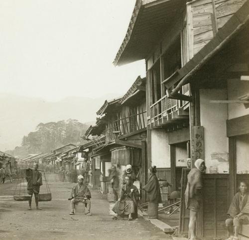 Informal street scene. 1870's, Japan, by photographer Felice Beato