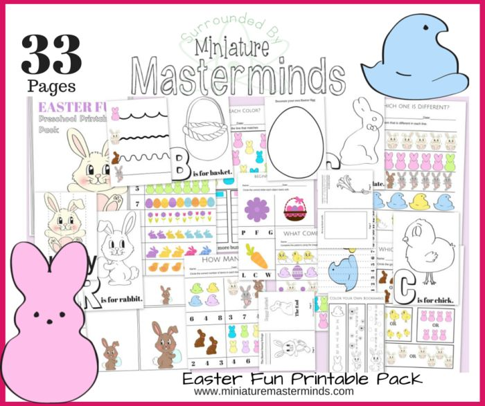 33 Pages of Easter Fun FREE Printable Activities! This pack is full of activities such as math concepts, literacy, early reading, letter recognition, using scissors, and more! The pack would be gre...