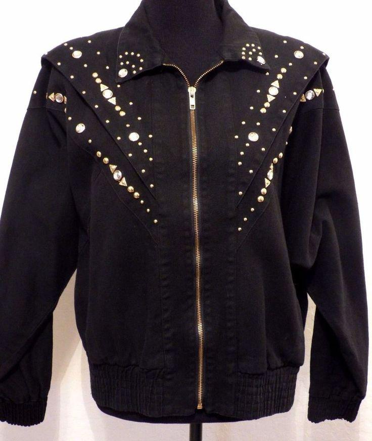 Vitg 80s PADO Black Denim Studded Bomber Jacket S M Rhinestones Boho #Pado #Bomber #Casual