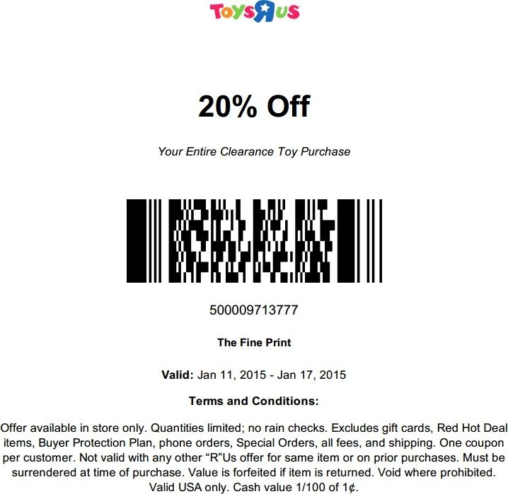 graphic regarding Printable Toysrus Coupons called Pinned January 11Th: Much more 20% Off Clearance At #toys R Us