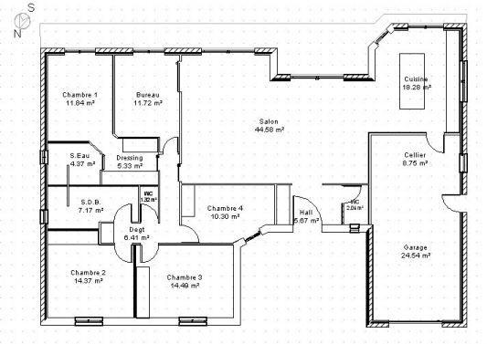 Plan architecture (ici maison)  permet de représenter les différents espaces ainsi que leur organisation et leur dimensions dans un point de vue globale.   Ont observe des codes graphique tel que : -des traits plus ou moins fin (par exemple :épais pour indiquer les différents murs) -la représentations des ouvertures (portes, fenêtres) ainsi que leur sens d'ouverture -le position de la architecture (boussole)