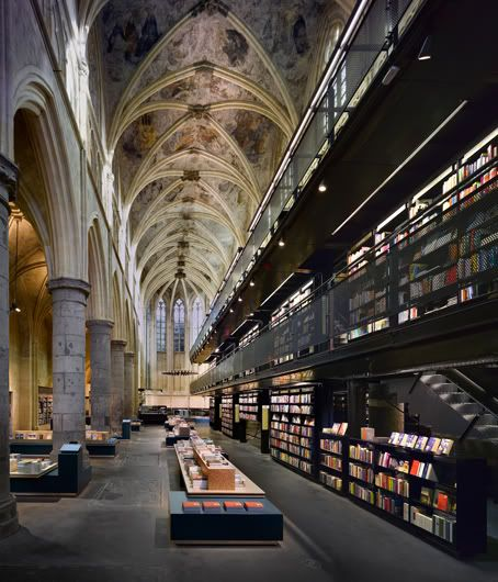 """Amazing Dutch church converted to a bookstore!     Merkx+Girod architects were asked by the Dutch booksellers Selexyz to convert the interior of the former Dominican Church in Maastricht, Netherlands into a modern bookstore with a 3 story """"Bookflat"""" construction."""