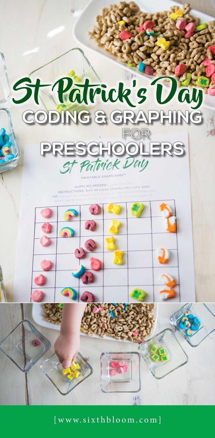 Teach your preschooler the beginning steps to coding and graphing through this screen free coding steam activity.  Engage their minds in creativity, problem solving and math through this St. Patrick's Day activity and free printable.