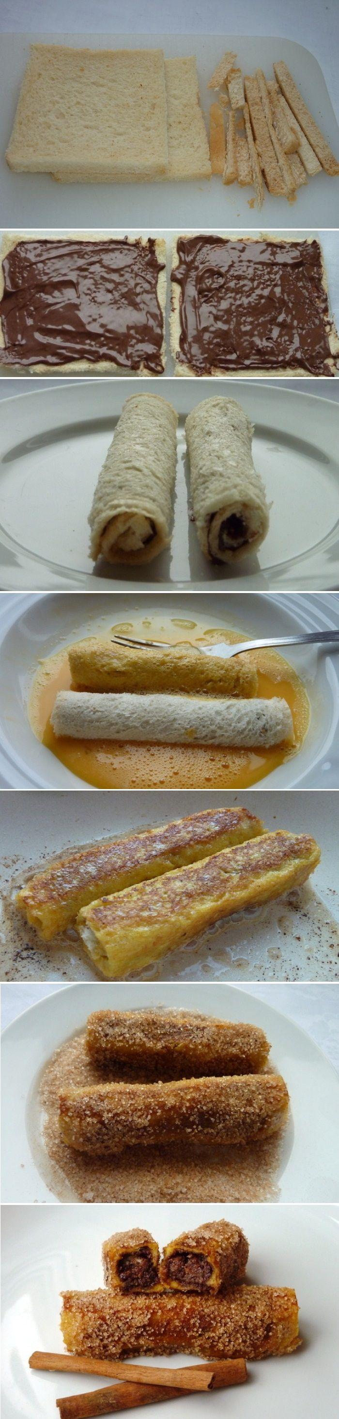 Ingredients 10 slices of toast or other soft thin white bread 10 tbs Nutella spread 1 egg 1-2 tbs milk 1/2 teaspoon sugar 1 tbs cinnamon 1-2 tbs oil