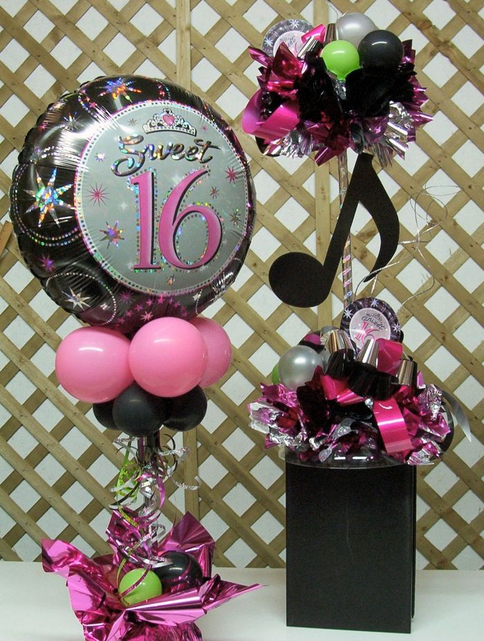 Love this for musicians centerpieces parties sista for Balloon decoration ideas for sweet 16