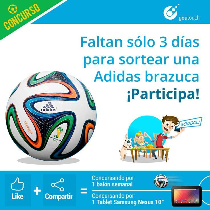 Solo a 3 días para saber quien es el ganador del balón Adidas brazuca!!! todas las semanas 1 brazuca participa no te quedes fuera.