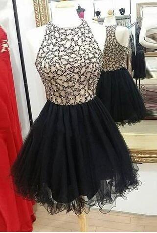 short prom dress, black prom dress, 2017 prom dress, 2017 short black homecoming dress, beads prom dress