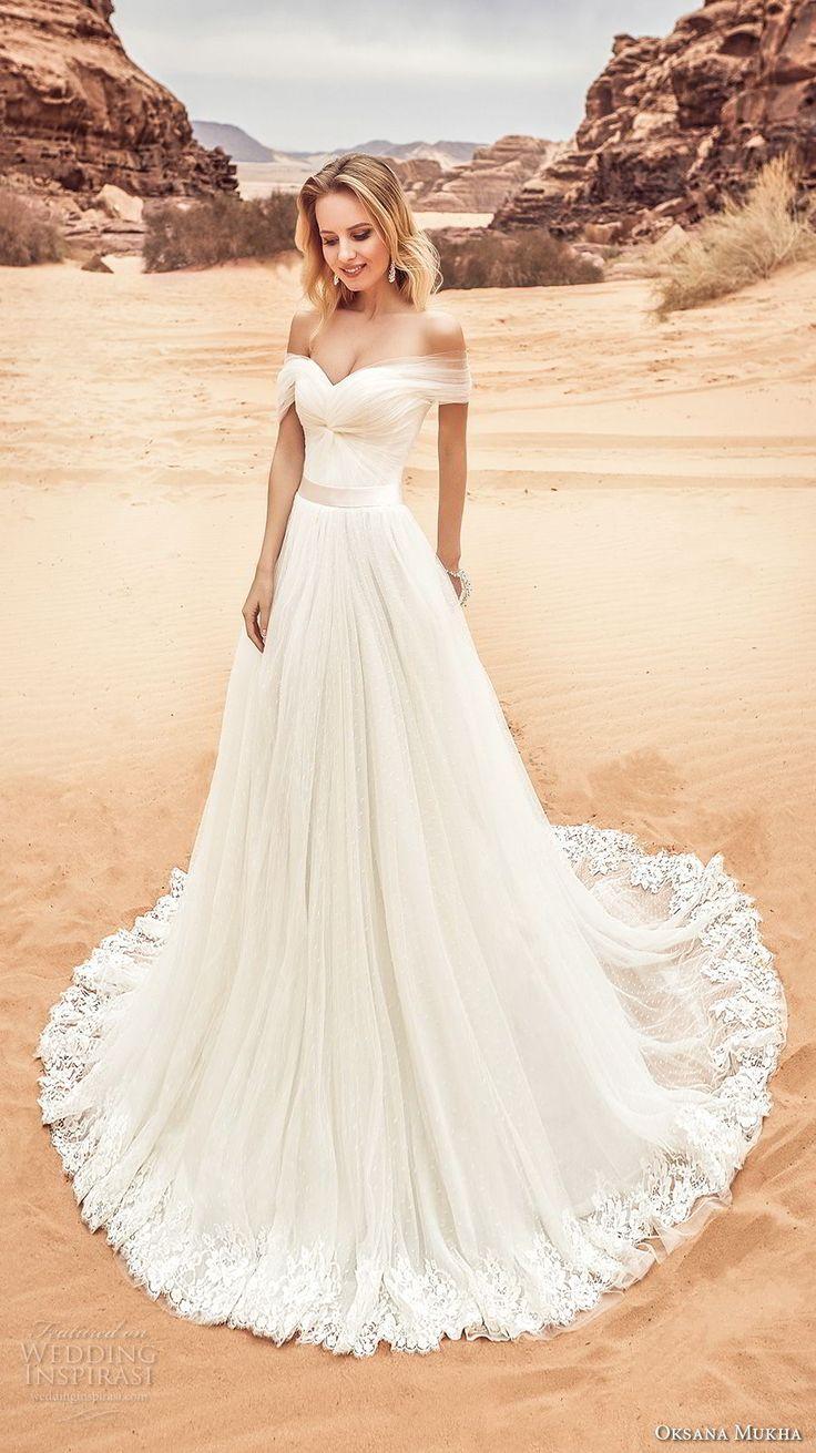 oksana mukha 2018 bridal off the shoulder sweetheart neckline ruched bodice tullel skirt romantic a line wedding dress corset back chapel train (lila) mv