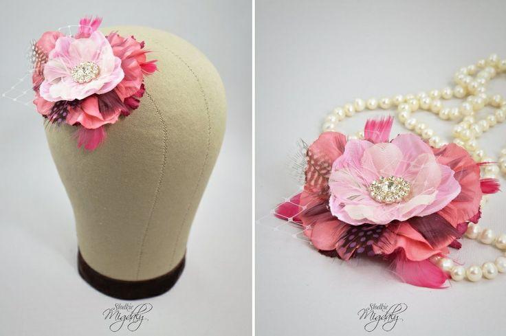 Bridal flower fascinator. Pink, fuchsia feather fascinator.