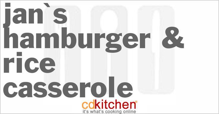 Jan's Hamburger & Rice Casserole from CDKitchen.com