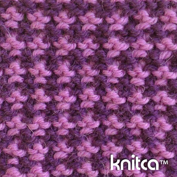 Right side of knitting stitch pattern – Slip Stitch 13 : www.knitca.com