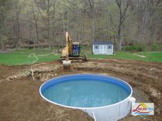 The Simple Above Ground Pool Deck From Wooden With Circular Pool Inside And  High Rise Deck