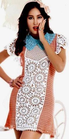 Платье вязаное крючком ретро