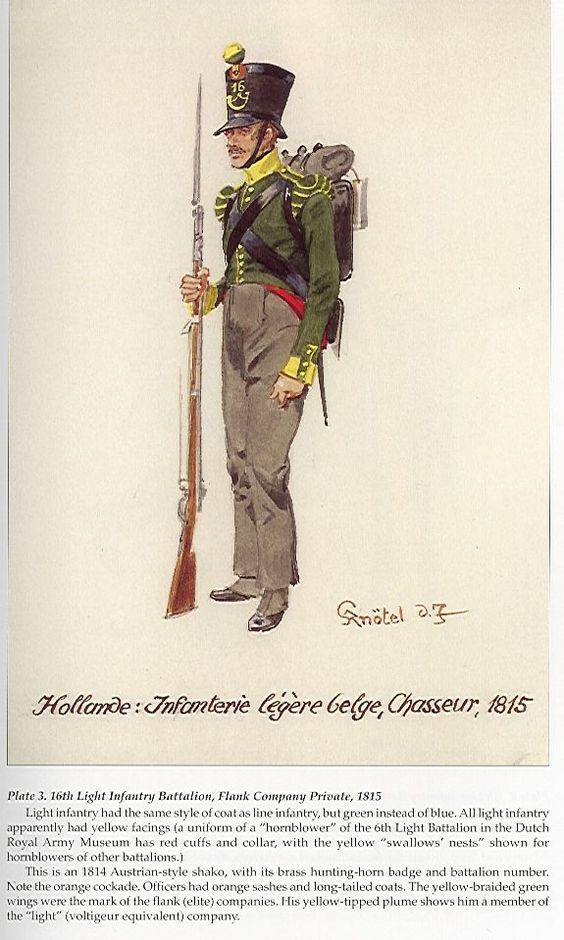 Dutch 16th Light Infantry Battalion, chasseur, Flank Company, 1815.