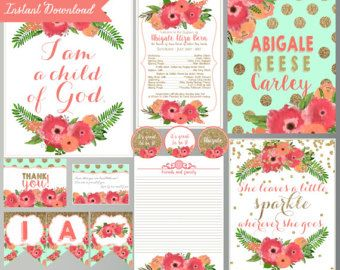 Baptism Quotes Printable Decorations  Teal and Pink  Baptism
