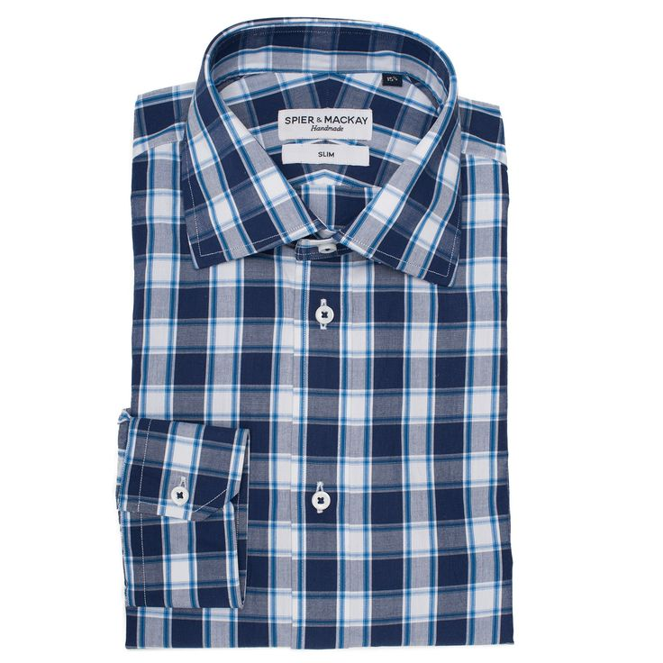Buy Blue Dorset Check Contemporary Fit Men's Suit online at Spier & Mackay. This shirt has Genuine Shell Buttons and Reversed Fused Collar for extra comfort. Place your order online at: http://www.spierandmackay.com/product_information/4285_blue_dorset_check