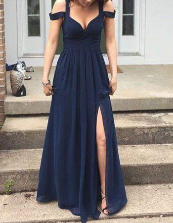 Simple Off Shoulder Split Front Long A Line Chiffon Junior Prom Dress