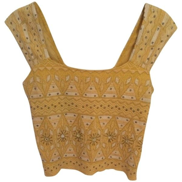 Pre-owned Free People Embroidered Beaded Crop Smock Festival Top... (£51) ❤ liked on Polyvore