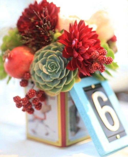 Succulent Table Decorations & Numbers I'm having an idea to do with my aloe vera's :)