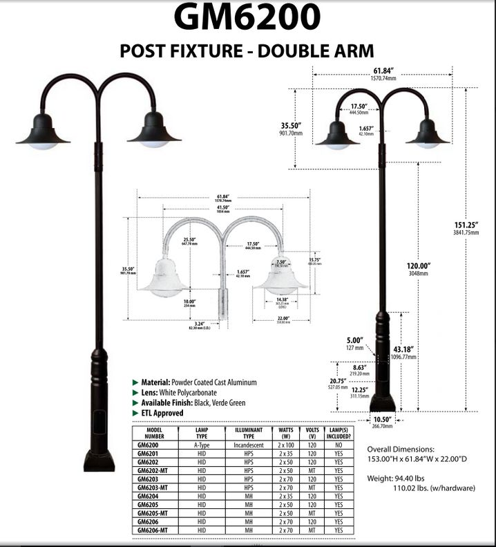 GM 6200 Powder-coated cast aluminum Pole Light / Parking lot lighting / Street Light