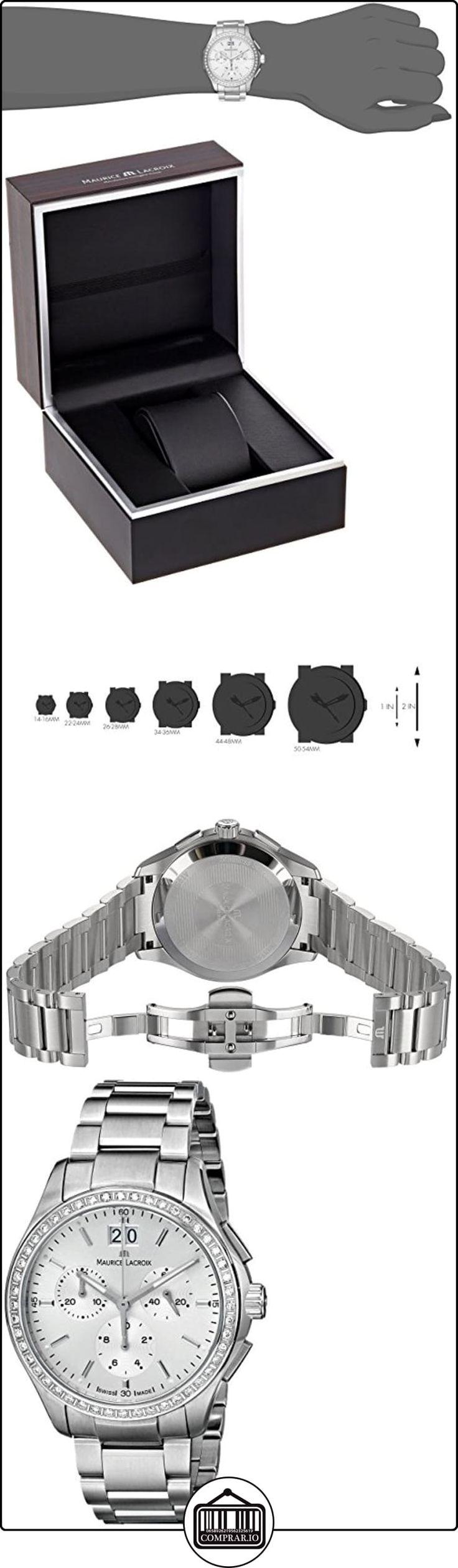 Maurice Lacroix Miros mi1057 - SD502 -130 38 mm Diamantes de plata pulsera de acero y la caja de zafiro anti-reflectante de las mujeres reloj de pulsera para mujer  ✿ Relojes para mujer - (Lujo) ✿
