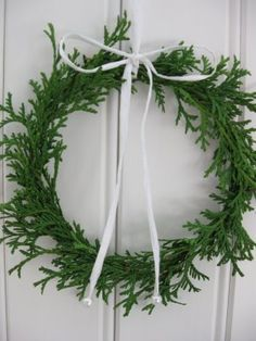 Simple Christmas wreath made of thuja