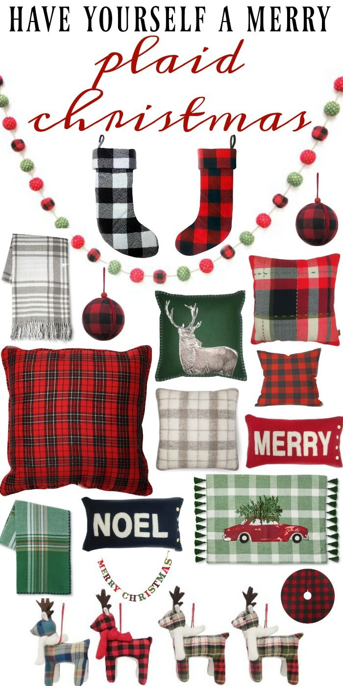 Plaid Christmas decor all from Target - Cozy plaid christmas decor