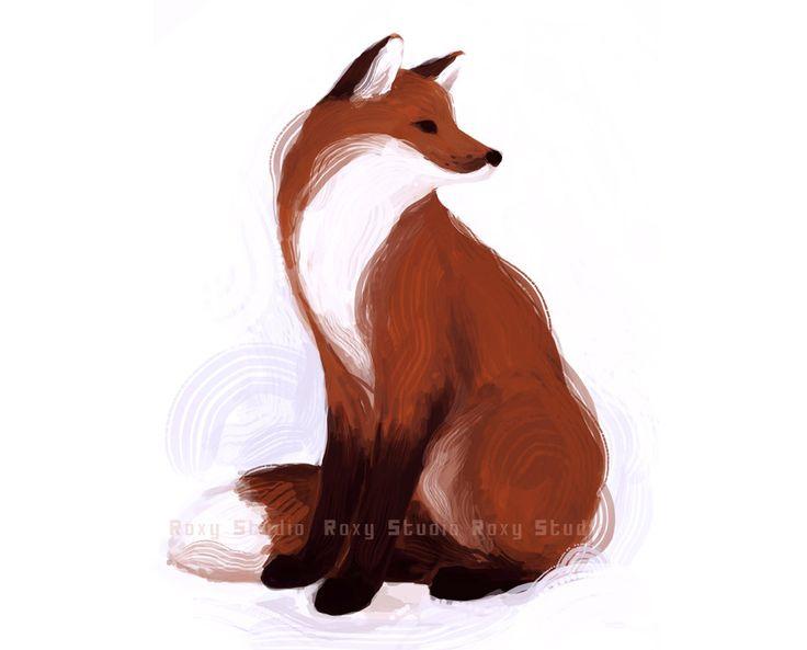 Sitting fox illustration - photo#1