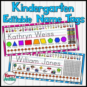 Editable Kindergarten Name Tags