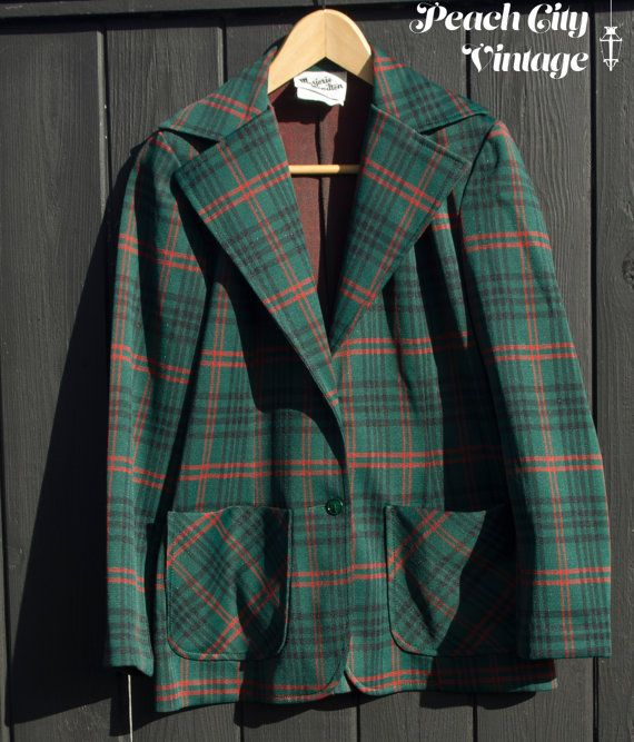 Green Plaid Polyester 3 Piece Pleated Skirt by PeachCityVintage
