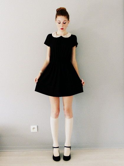 By Monshowroom Peter Pan Collar Dress, H&M Knee High Socks