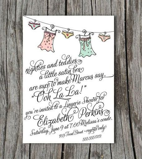 I love this idea for a lingerie shower invite! Such a cute poem :)