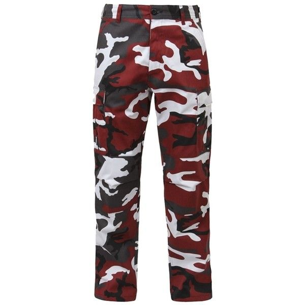 Red Camo BDU Adjustable Waist Cargo Pant ❤ liked on Polyvore featuring pants, red camouflage pants, cargo trousers, sports trousers, sport pants and cargo pants